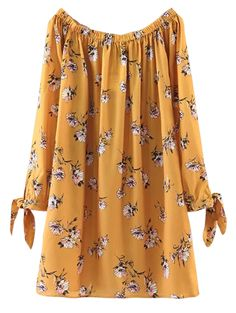 $20.99 Floral Off Shoulder Shift Dress - YELLOW S