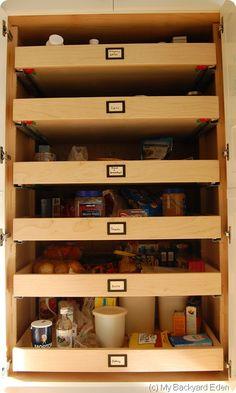pantry organization with sliding drawers