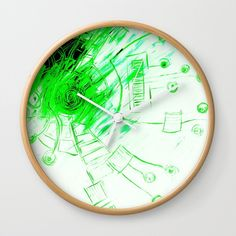 """Good times! Rethink the traditional timepiece as functional wall decor. You'll love how our Artists are converting some of their coolest designs specifically into Wall Clocks. Constructed with premium, shatter-resistant materials, with three frame color options.      - Natural wood, black or white frame options   - Dimensions: 10"""" diameter, 1.75"""" depth   - Choose black or white hands to match frame or design   - High-impact plexiglass crystal fac..."""