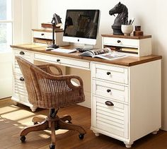 Whitney Rectangular Desk Set - Almond White - color/finish idea for my desk and office furniture Mesa Home Office, Home Office Desks, Office Decor, Office Furniture, Office Ideas, Basement Office, Office Nook, Furniture Shopping, Office Spaces