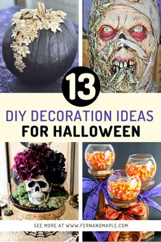From spooky haunted house props and centerpieces to cute garlands and pretty wreaths, there's a bit of everything here in these 13 DIY Halloween Decoration Ideas! Get all of the details now at fernandmaple.com.