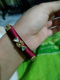 Silk Thread Earrings Designs, Silk Thread Bangles Design, Silk Thread Necklace, Silk Bangles, Thread Bracelets, Bridal Bangles, Thread Jewellery, Daughter Necklace, Handmade Jewelry Designs