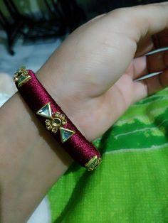 Silk Thread Earrings Designs, Silk Thread Bangles Design, Silk Thread Necklace, Silk Bangles, Bridal Bangles, Thread Jewellery, Daughter Necklace, Handmade Jewelry Designs, Diy Earrings