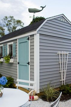 Shed Plans - A Coastal She Shed - really cute idea could translate well for a play house for the boys. Now You Can Build ANY Shed In A Weekend Even If You've Zero Woodworking Experience! House Paint Exterior, Exterior House Colors, Cabana, Painted Shed, Pintura Exterior, Shed Colours, She Sheds, Shed Design, Building A Shed