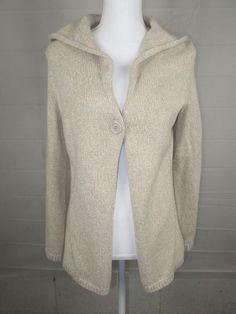 Liz Claiborne Cardigan One button Collared Sweater Size Small Tan #LizClaiborne #Cardigan