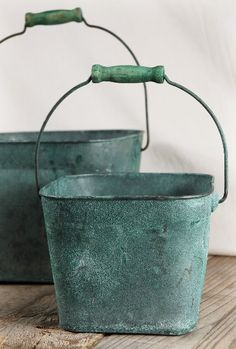 """Metal Square  Buckets Verdigris Copper Green (set of two)  with Handles (6.5"""" & 8.5"""")  $22 set"""