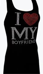 Black Rhinestone Bling Studded I Love My Boyfriend Tank Top - RUNS SMALL