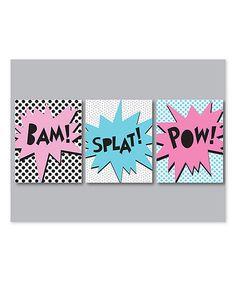 Look at this #zulilyfind! Pink & Blue Comic Action Art Print - Set of Three #zulilyfinds