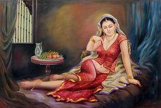 'Awaiting the King's Arrival' - Beautiful Jaipuri Queen in Red Signed Painting from India Indian Women Painting, Indian Art Paintings, Indian Artist, Farm Paintings, Abstract Paintings, Sexy Painting, Painting Of Girl, Heaven Painting, Painting Tips