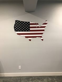 Large Usa Map Flag Painted It Looks Great Especially On A Light Colored Wall