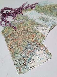 TAGS Vintage Map Gift Swing Tag Birthday by leafandpetalvintage, $7.00