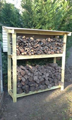 Having a dedicated area to keep your firewood dry and at the ready, is made easier with a firewood shed. These firewood shed plans, will help you build one. - easy shed plans. Outdoor Firewood Rack, Firewood Shed, Firewood Storage, Shed Storage, Diy Storage, Storage Design, Outdoor Storage, Storage Ideas, Shed Construction