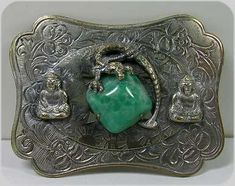 Victorian Sash Pin with Jade Glass, Dragon and Buddhas