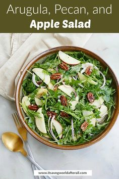 This delicious arugula apple salad recipe is the perfect fall dish, with red onion, pecans, parmesan, and apple cider vinaigrette! It takes only 15 minutes to prepare and makes a great option for Thanksgiving or Christmas. Apple Recipes Easy, Apple Salad Recipes, Arugula Recipes, Healthy Vegetable Recipes, Vegetable Side Dishes, Healthy Salad Recipes, Fall Recipes, Fancy Salads, Savory Salads