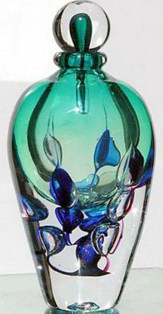 Art Glass Perfume Bottle - Novaro--blue, green, teal, jade