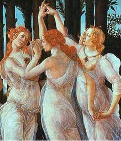"Detail from ""Primavera"" by Sandro Botticelli, c. 1482; Uffizi Gallery - Three Graces"
