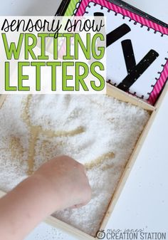 Writing Letters with Sensory Snow Handwriting Activities, Alphabet Activities, Sensory Activities, Hands On Activities, Learning Activities, Preschool Activities, Sensory Play, Preschool Learning, Homeschooling Resources