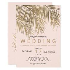 Modern faux gold palm tree elegant wedding pink card - individual customized unique ideas designs custom gift ideas
