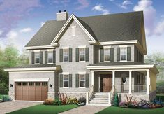 Traditional Country Farmhouse Design at Family Home Plans - House Plan 68178 - Country, Modern Farmhouse Style House Plan with 1980 Sq Ft , 3 Bed , 3 Bath , 2 Car Garage Farmhouse Design, Country Farmhouse, Farmhouse Ideas, Vintage Farmhouse, French Country, Modern Farmhouse, Farmhouse Decor, Plan Chalet, Drummond House Plans