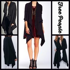 "FREE PEOPLE Long Cardigan Wrap Cardi Coat RETAIL PRICE: $168  NEW WITH TAGS  ***Model photos retrieved from WWW.Nordstrom.com & WWW.Lyst.com  FREE PEOPLE Cardigan Jacket Draped Cardi  * A relaxed silhouette * Incredibly soft, stretch-to-fit fabric  * Waterfall silhouette & long sleeves.  * About 37"" long. * Open Front No Trades ✅Offers Considered*✅ *Please use the blue 'offer' button to submit an offer. Fabric:Nylon, wool, viscose, angora, & spandex blend Color: Black (The taupe Cardi is…"