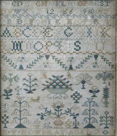"An undated 18th Century needlework sampler ""M. W. Mowbray Aged 7"""