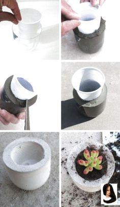 Diy garden pots cement ideas 27 trendy ideas - All About Diy Concrete Planters, Concrete Crafts, Concrete Projects, Diy Planters, Diy Projects, Concrete Furniture, Diy Garden, Garden Pots, Mini Cactus Garden