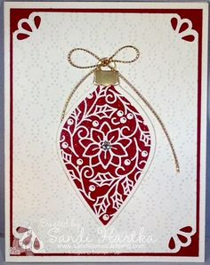Delicate ornaments, Christmas card, curvy corner trio punch, DIY Christmas card, Elegant dots embossing folder