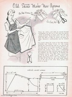 livin vintage: Free Pattern Friday: 1940s apron how to from a men's dress shirt