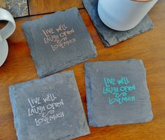 Live Well, Laugh Often, Love Much Coasters - 12 color options #christmas