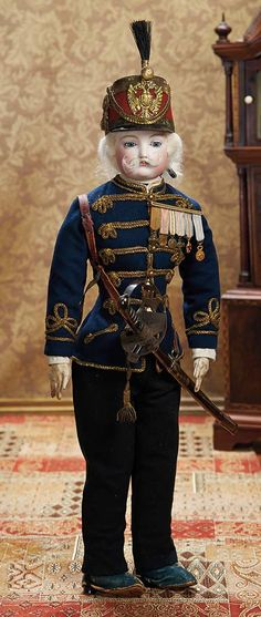 Handsome French Bisque Soldier in Fine Antique Regimental Costume