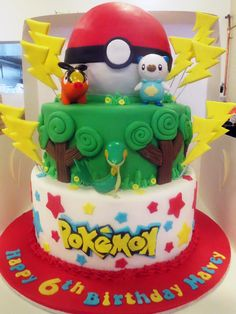Pokemon themed birthday cake, topped with hand-modelled pokeball. Figurines provided by parent.