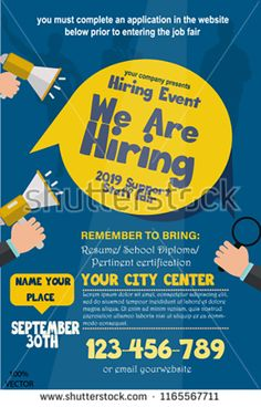 We are Hiring Poster or Banner Design. Job Vacancy Advertisement Concept on dark blue background with speakers, hands and yellow label. We Are Hiring, Jobs Hiring, Hiring Poster, Drive Poster, Graphic Design Flyer, Dark Blue Background, Advertising Design, Design Reference, Banner Design