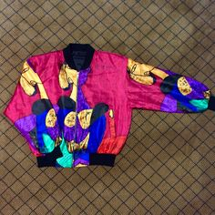 2f906c6e0ca VTG No-Brand PICASSO Bomber Jacket // Chest (Pit to Pit): Depop