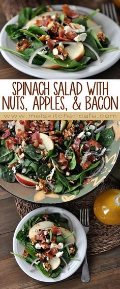 This salad is chock full of everything I love: fresh baby spinach, crisp sweet apple slices, tart dried cranberries, tangy feta cheese, bacon, and delicious sweet and spicy caramelized nuts. The combination rocks.