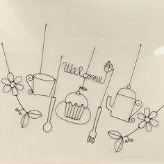 【ワイヤークラフト/ガーランド】 ①花とツタ ②カップ ③スプーン ④Welcome(葉)+カップケーキ ⑤フォーク ⑥ポット ⑦花とツタ  #ワイヤークラフト #ガーランド #ティータイム #tea time #カップケーキ