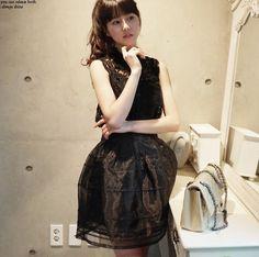 Free shipping 2014 Fashion vintage Elegant Sexy girls Dresses  one-piece dress lace bust organza set  casual dress