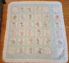 Vintage baby crib quilt Precious Moments ABC alphabet blue Nursery…