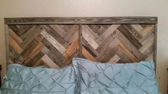 Free Shipping! Reclaimed wood laid in a herringbone pattern. Headboard measures 76 x 38 for a king. This would also be cool without a bed just as