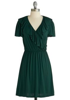 Lush with Loveliness Dress - Mid-length, Green, Solid, Ruffles, Casual, A-line, Short Sleeves