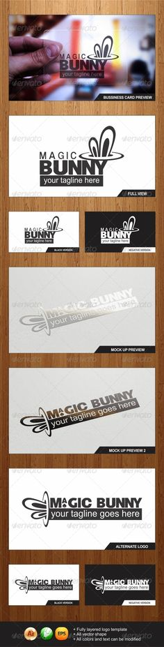 Magic Bunny Logo #GraphicRiver An Amazing Multipurpose Magic Bunny Logos highly suitable for Magic Studio, Design Studio, Art Studio, Casino and many other businesses - All vector shape - Fully layered logo template - All colors and text can be modified - Ai ,EPS, CorelDraw X3 Files - Help files included Font : 1. (Dynamo Magician) : .dafont /dynamo-magician.font Font : 2. (Arial) : Free Font Windows DONT FORGET to RATE IT.. IT REALLY MEANS A LOT to ME..