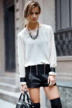 black shorts leather