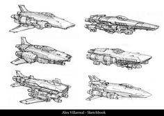 Spaceship Sketches Page 02, Alex Villarreal on ArtStation at https://www.artstation.com/artwork/spaceship-sketches-page-02