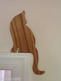 CAT DECOR, Cat silhouettes, door or window trim toppers. Set of two.Stained.