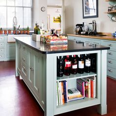 for our kitchen island bench, wine and cookbook storage on the end