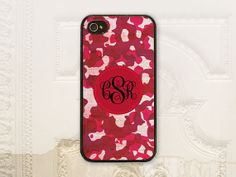 Red Camoflauge monogram phone case iPhone 4 4S 5 5S, Galaxy S3 & S4 by Lil Stinker Design, $17.99+