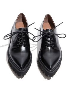 Jeffrey Campbell Seymour Black Oxfords with chunky treaded sole. #pixiemarket #fashion #womenclothing @pixiemarket