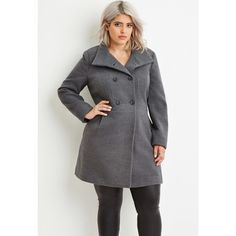 Forever 21 Plus Women's  Plus Size Double-Breasted Pea Coat featuring polyvore, fashion, clothing, outerwear, coats, plus size womens pea coat, womens plus coats, pea jacket, pea coat and full length coat