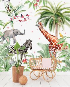 This animal kingdom on your own wall, an elephant, zebra, giraffe and birds, it is all possible with the wallpaper of Creative Lab Amsterdam. Creative Labs, Kids Wallpaper, Designer Wallpaper, Wallpaper Designs, Deco, Animal Kingdom, Baby Room, Playroom, Kids Room