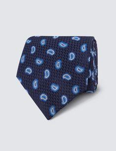 Men's Navy Teardrop Design Tie - 100% Silk