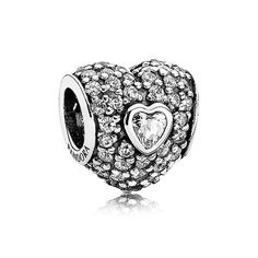 Pandora In My Heart with Clear Pavé Charm Let your love shine through with this Pandora In My Heart CZ Charm. This Sterling Silver charm is loaded with cubic zirconia and ready to sparkle on your Pandora bracelet.